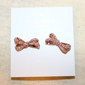 "Kate Spade Rose Gold ""Tied Up"" Bow Earrings"